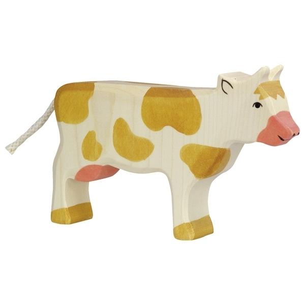 Holztiger 80010 Kuh stehend braun 16 cm Holzfiguren Serie Farmland