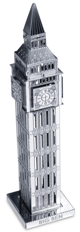 Metal Earth 1019 Big Ben Tower 13 Teile 3D-Metall-Bausatz Silver-Edition