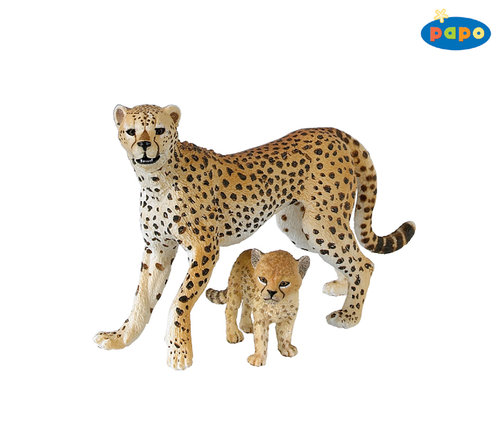 Papo 50044 cheetah with young 10 cm Wild Animals