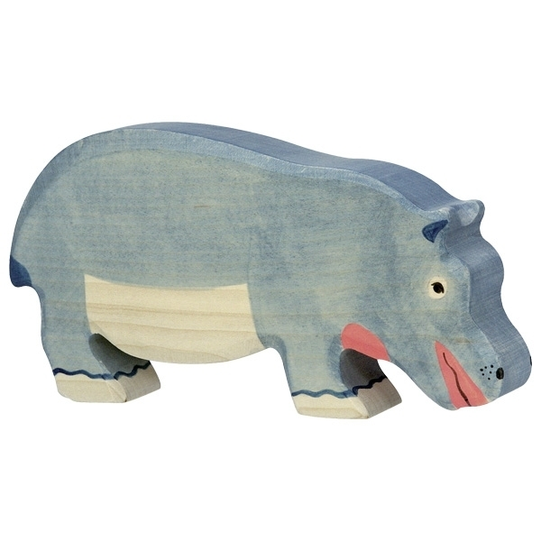 Holztiger 80161 hippo (eating) 19 cm Wood Figure Series Wild Animals