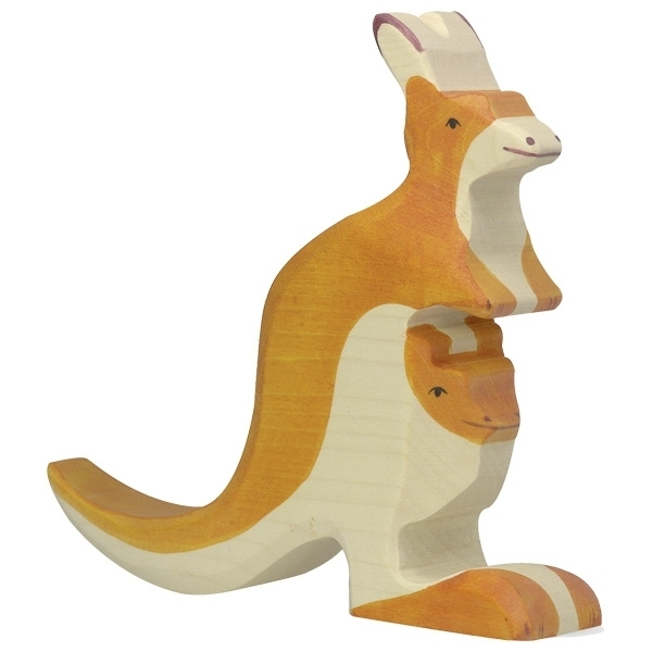 Holztiger 80193 kangaroo with young 15 cm Wood Figure Series Wild Animals