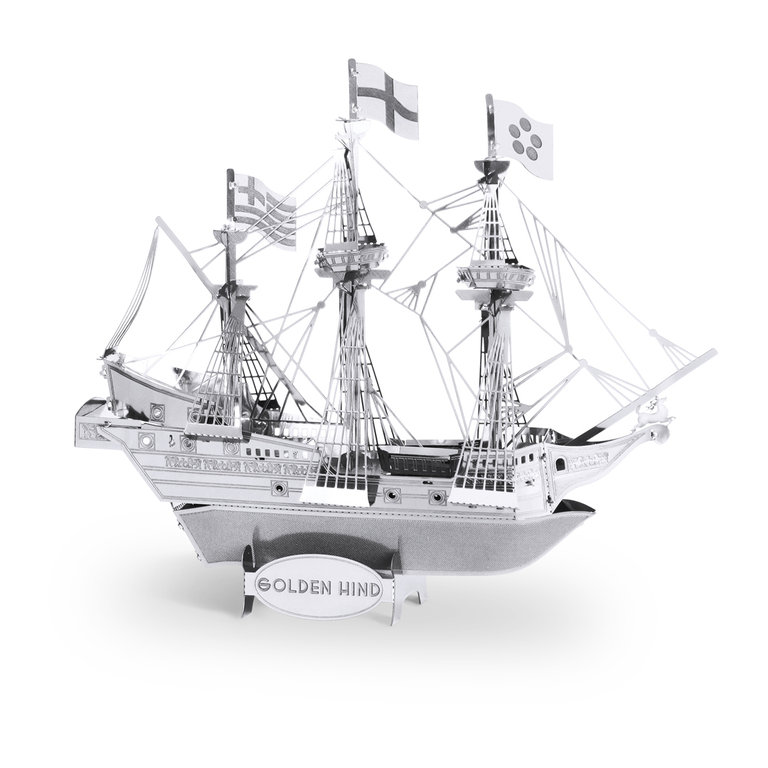 Metal Earth 1049 Golden Hind 3D-Metall-Construction Silver-Edition