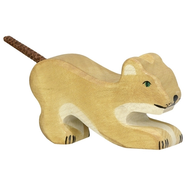 Holztiger 80142 lion (small) playing 8,5 cm Wood Figure Series Wild Animals