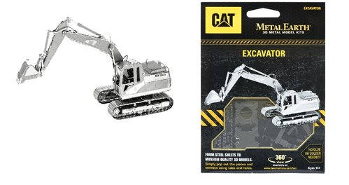 Metal Earth 1422 Bagger Excavator CAT 3D-Metall-Construction Silver-Edition