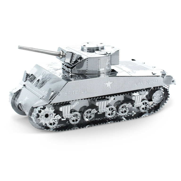 Metal Earth 1204 Sherman Tank 3D-Metall-Construction Silver-Edition