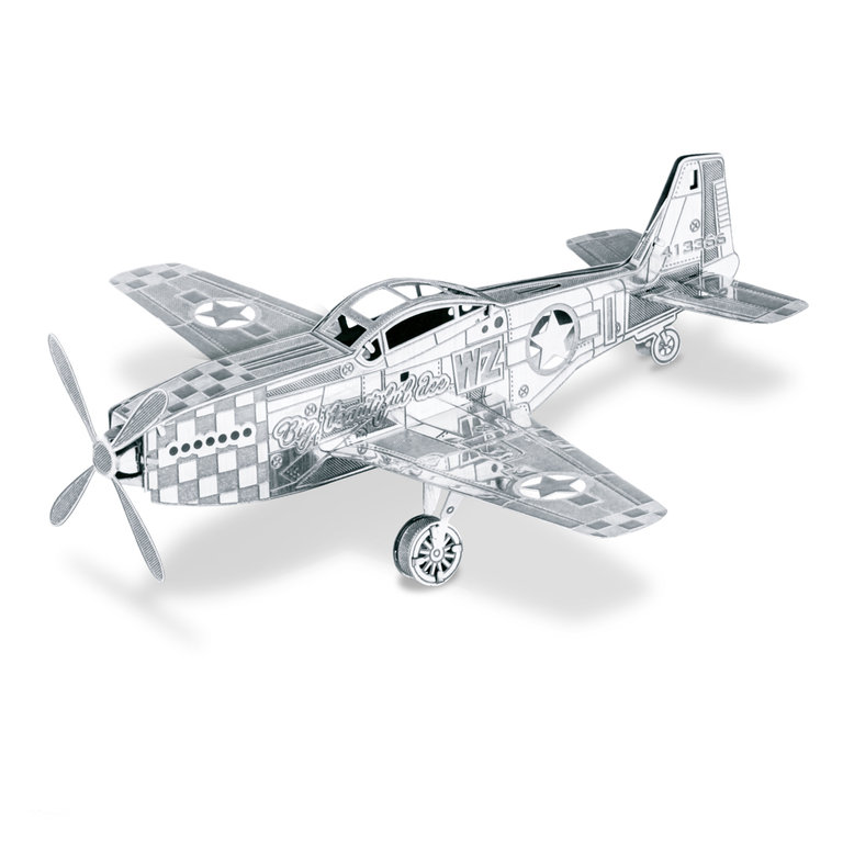 Metal Earth 1003 Mustang P-51 3D-Metall-Bausatz Silver-Edition