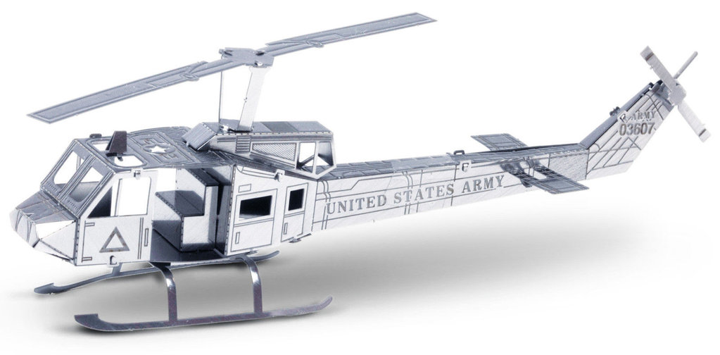 Metal Earth 1011 Huey UH-1 Helicopter 14 Teile 3D-Metall-Bausatz Silver-Edition