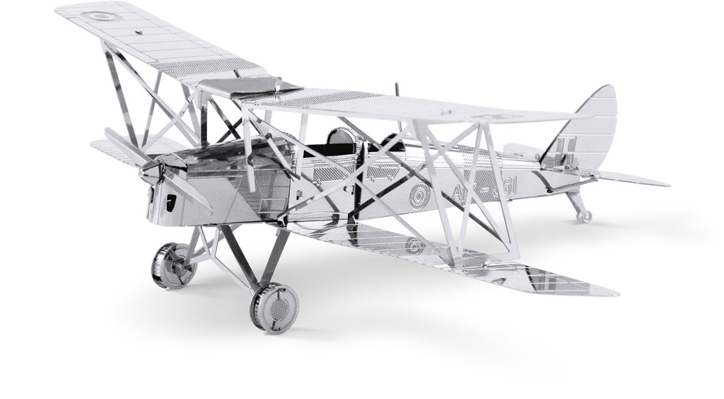 Metal Earth 1066 DH82 Tiger Moth 3D-Metall-Bausatz Silver-Edition