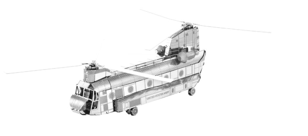 Metal Earth 1084 CH-47 Chinook 3D-Metall-Bausatz Silver-Edition