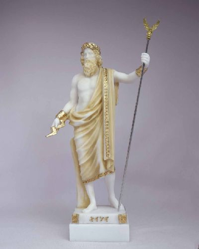 Maska 3-780P Zeus 16 cm alabaster patina series god