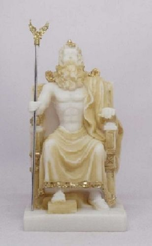 Maska 3-772P Zeus 13 cm alabaster patina series god