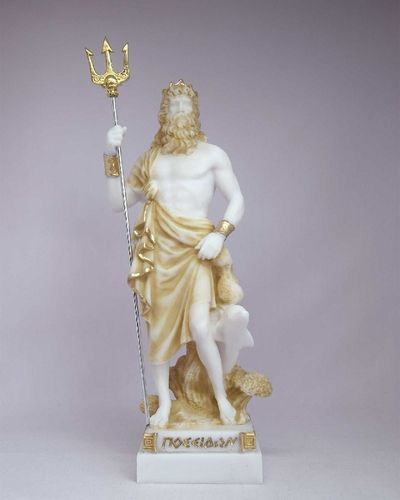 Maska 3-784P Poseidon 16 cm alabaster patina series god