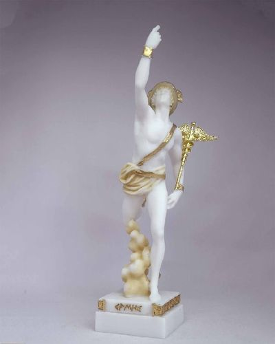 Maska 3-783P Hermes 16 cm alabaster patina series god
