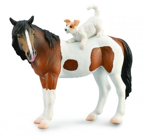 Collecta 88891 Cuddly pony with dog friend (German riding pony with mixed terrier) 12 cm horse world