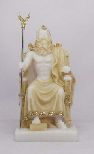 Maska 5-599P Zeus 20 cm alabaster patina series god